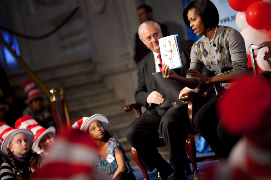 First Lady Michelle Obama reads